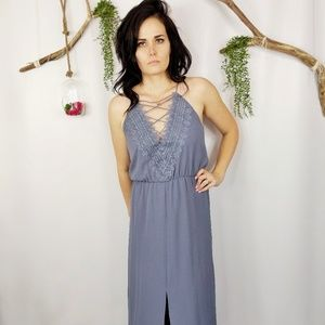 NEW WAYF grey crepe laceup Posie Maxi dress 0236